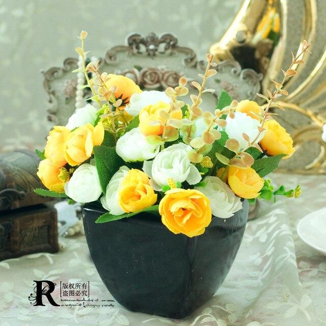 Европейский минималистский стиль сад роз и николь небольшой искусственные цветы и ваза комплект три цвета варианты 2 расслоение цветы / комплект