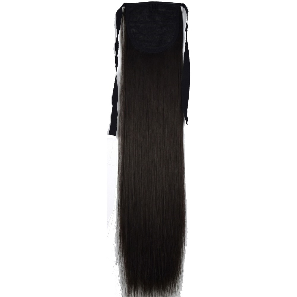 TOPREETY Heat Resistant B5 Synthetic Fiber 22 55cm 90gr Straight Ribbon Ponytail Extensions 60 Colors Available