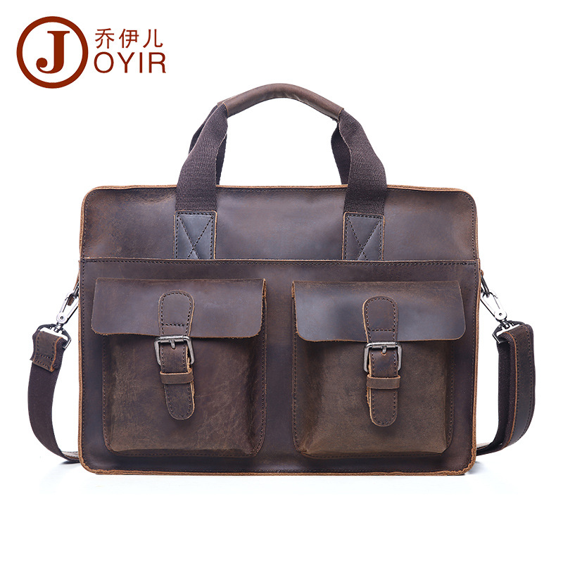 2017 new Europe and the United States retro business briefcase head layer of leather leather men bag shoulder Messenger bag  цены