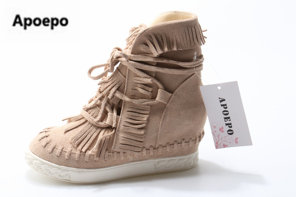 2017 Spring Hot Selling Fringe Suede Wedge Boots Height Increasing Lace up Ankle Booties Tassels Boots Women High Quality lace up tassels zipper boots