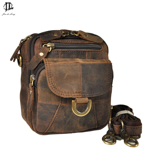 100% cowhide genuine leather casual waist bag small crossbody travel shoulder bag cell phone bag men messenger bags