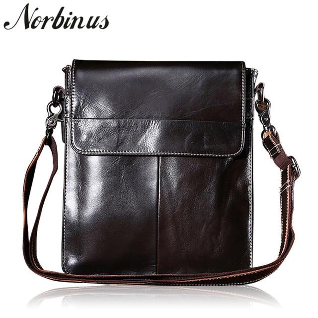Norbinus hakiki deri çanta erkekler Messenger omuz çantaları dana Crossbody çanta erkekler için iş deri çantalar küçük evrak çantası