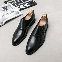 Elegant Leather Men Shoes Italian Formal Dress Male Footwear Luxury Brand Fashion Moccasins Office Working Oxford