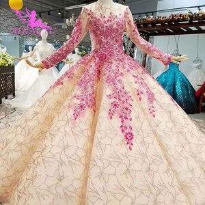 Image 3 - Aijingyu 슬리브 웨딩 드레스 국가 가운 아름다운 판매 여성 아랍어 3d 화이트 가운 싱가포르 얇은 명주 그물 드레스