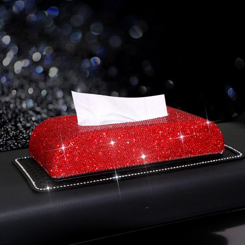 Cristaux de luxe rouge voiture boîte à mouchoirs maison bureau PU en cuir serviettes papier brillant titulaire accessoires d'intérieur pour femme cadeau