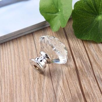 10 шт. 30 мм алмазным покрытием Форма Кристалл Стекло Ручка Шкаф ящика Потяните ручки новый Кухня дверная ручка мебельная аксессуары