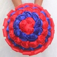 Simple Custom Red Yoyal Blue Striped Artificial Rose Flowers Wedding Bridal Bouquets Silk Ribbon Wedding Bouquet