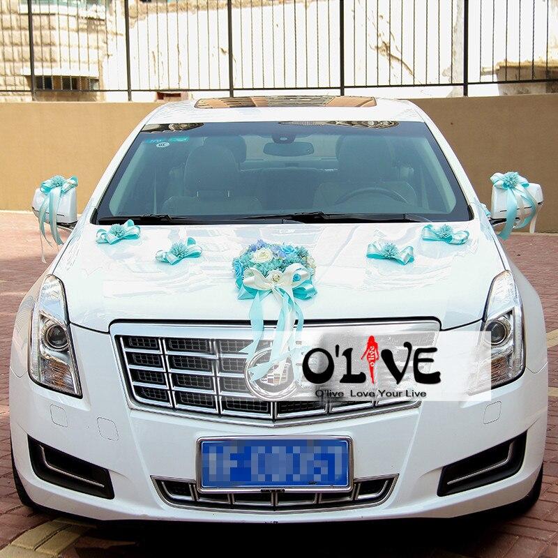 Mariage voiture décoration fleurs artificielle ventouse ruban décoratif fleurs mariage couronne bricolage personnalisé en gros