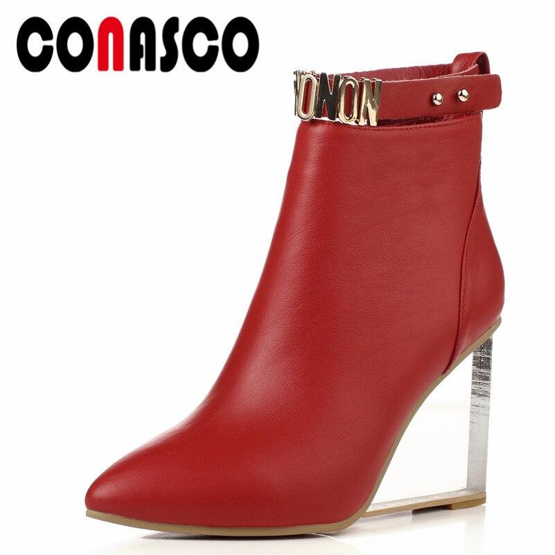 284198ef3 CONASCO 1/модные женские ботильоны, осенне-зимняя теплая обувь на высоком  каблуке,