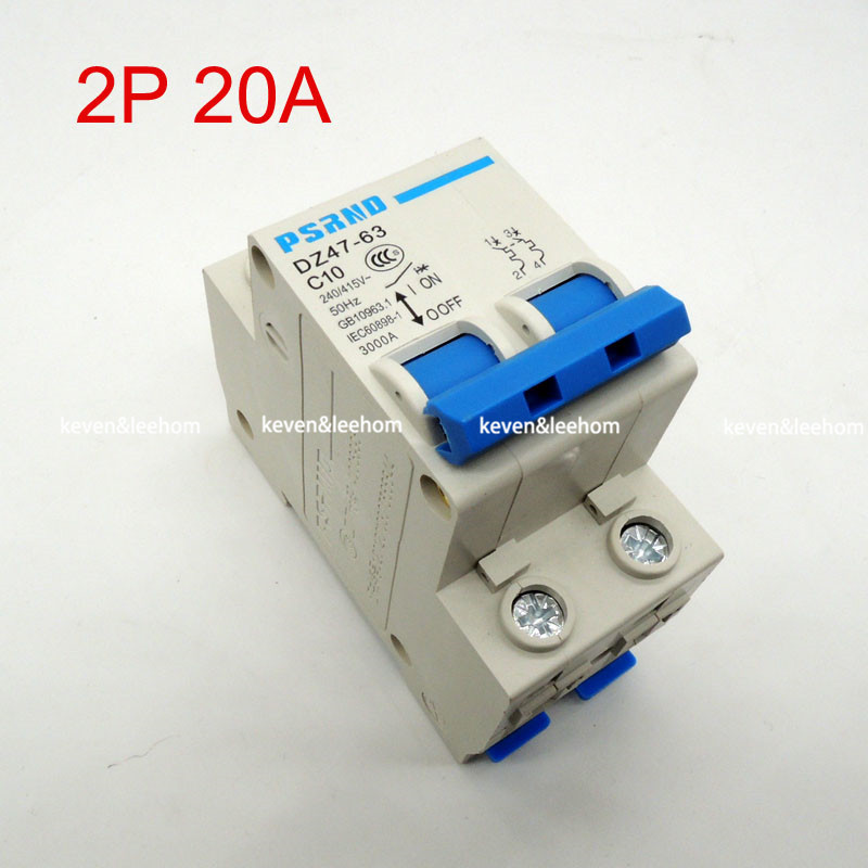 DZ47 2P 20A AC 230V 400V Circuit breaker MCB Household air switch without leakage C type AC high quality dz47 100h 63a 2p ac 230v or 400v mini circuit breaker mcb cutout switch breaker switch chopper 2pcs