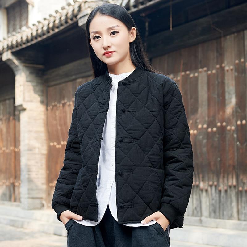 Women original ancient cotton padded clothes winter short design parkas top quality outwear cotton linen coat