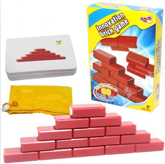 Gift for Kids Quality IQ 3D Brain Teaser Brick Puzzle Game Toy for Children with 60 Mind Challenge Cards 3d wooden brain teaser puzzle colorful iq mind educational wood game toys for children adults