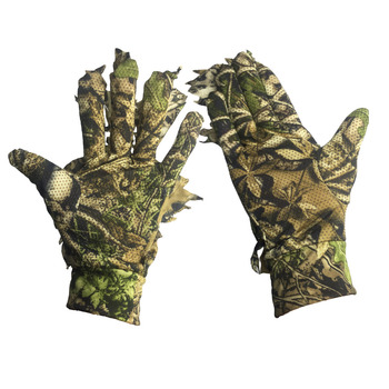 Camo Gloves polyester Full Finger for Fishing Hunting Cycling CS Sports Gloves for Tactical Shooting Camo 3D Leaves Bionic breathable jungle bionic camo clothes wild hunting suits for hunter oem factory