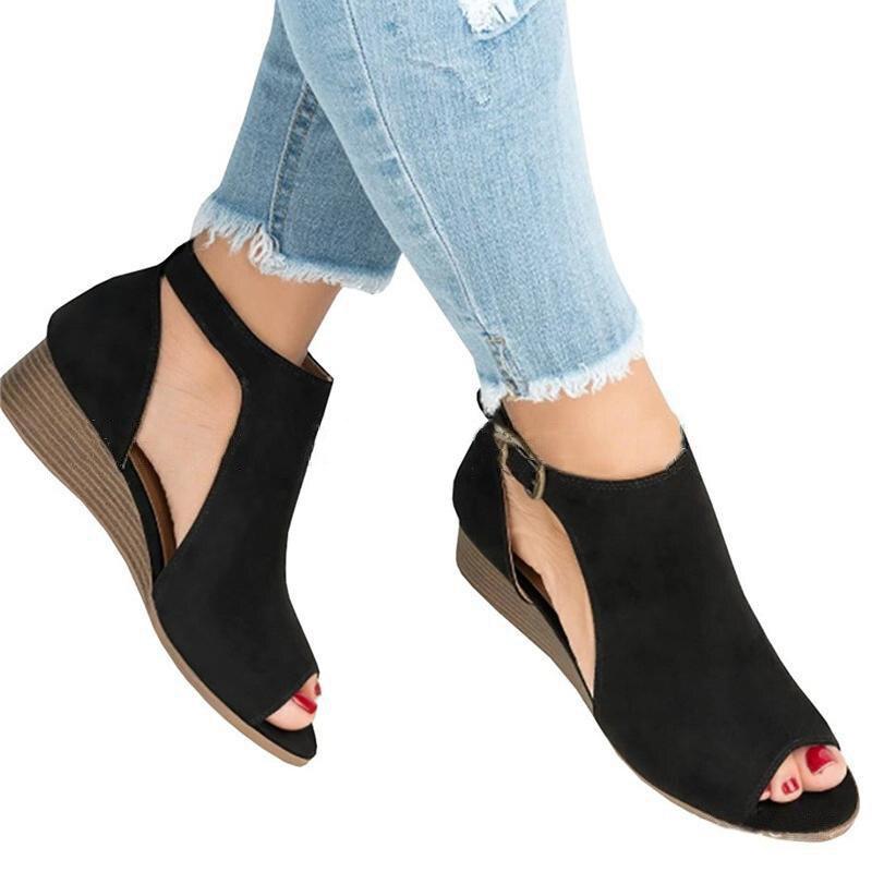 f209e90c Moda cuñas zapatos para Mujer Sandalias Peep Toe cuña tacones verano  Zapatos Sandalias Mujer talla grande Casual verano Sandalias Mujer