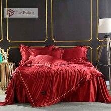 Liv-Esthete шелк красный роскошный комплект постельного белья двойной queen King пододеяльник наволочка Покрывало Постельное белье Декор домашний текстиль
