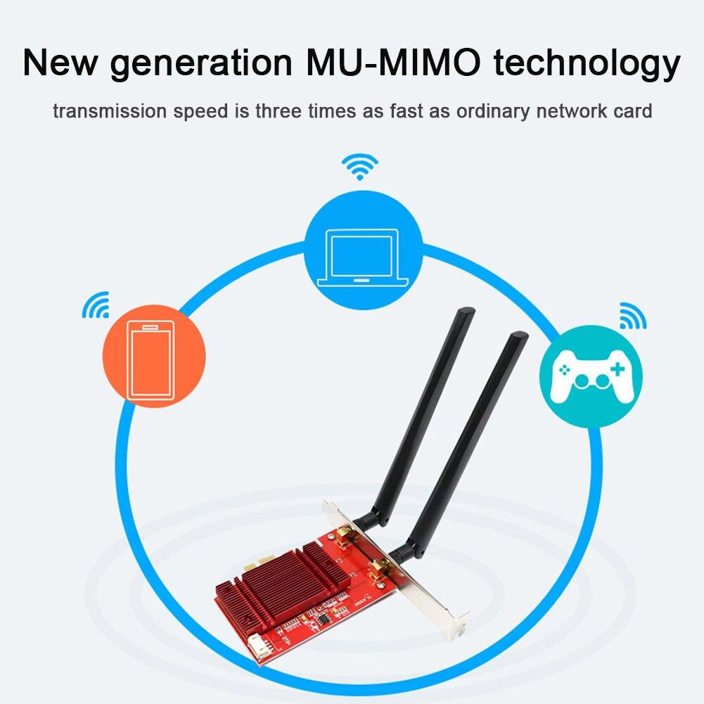 Adaptateur sans fil bureau double bande 2.4G 5 Ghz antenne PCI-e carte réseau maison WIFI Bluetooth 5.0 accessoires ordinateur haute vitesse