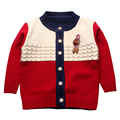 Boys Sweaters Print Cotton Top Knit Infant Outfit With Button Boy Corsage Outerwear Winter Warm Apparel Cardigan Knitted Clothes