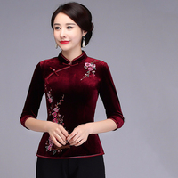 New Purple Female Embroidery Velvet Blouse Traditional Chinese Spring Shirt Vintage Three Quarter Sleeve shirts Oversize 4XL