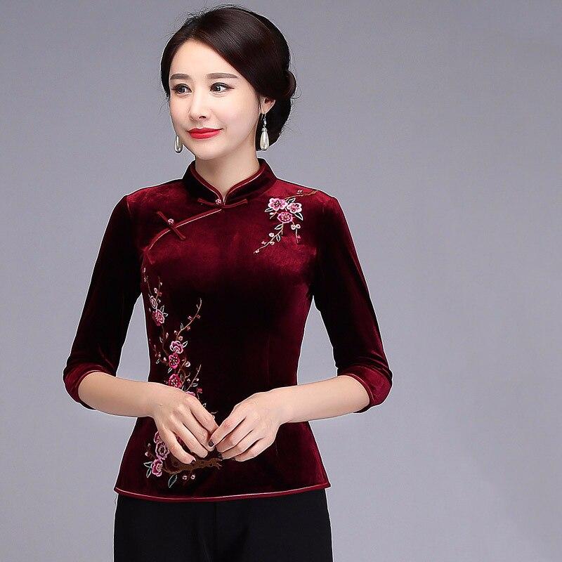 Nouveau violet femme broderie velours Blouse traditionnelle chinoise printemps chemise Vintage trois quarts manches chemises Oversize 4XL