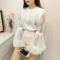 Missoov Moda Feminina Blusas Fashion Brand Autumn Lolita Style Women Blouses Lace Shirts White Yellow Ladies