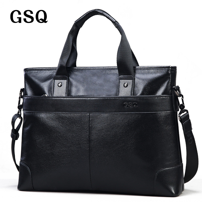 GSQ Men Handbag Real Leather Handbags Tote Bags Genuine Leather Men Business Briefcase Men's Cow Leather Messenger Bag G168-1 graffiti classic boy 20 blue