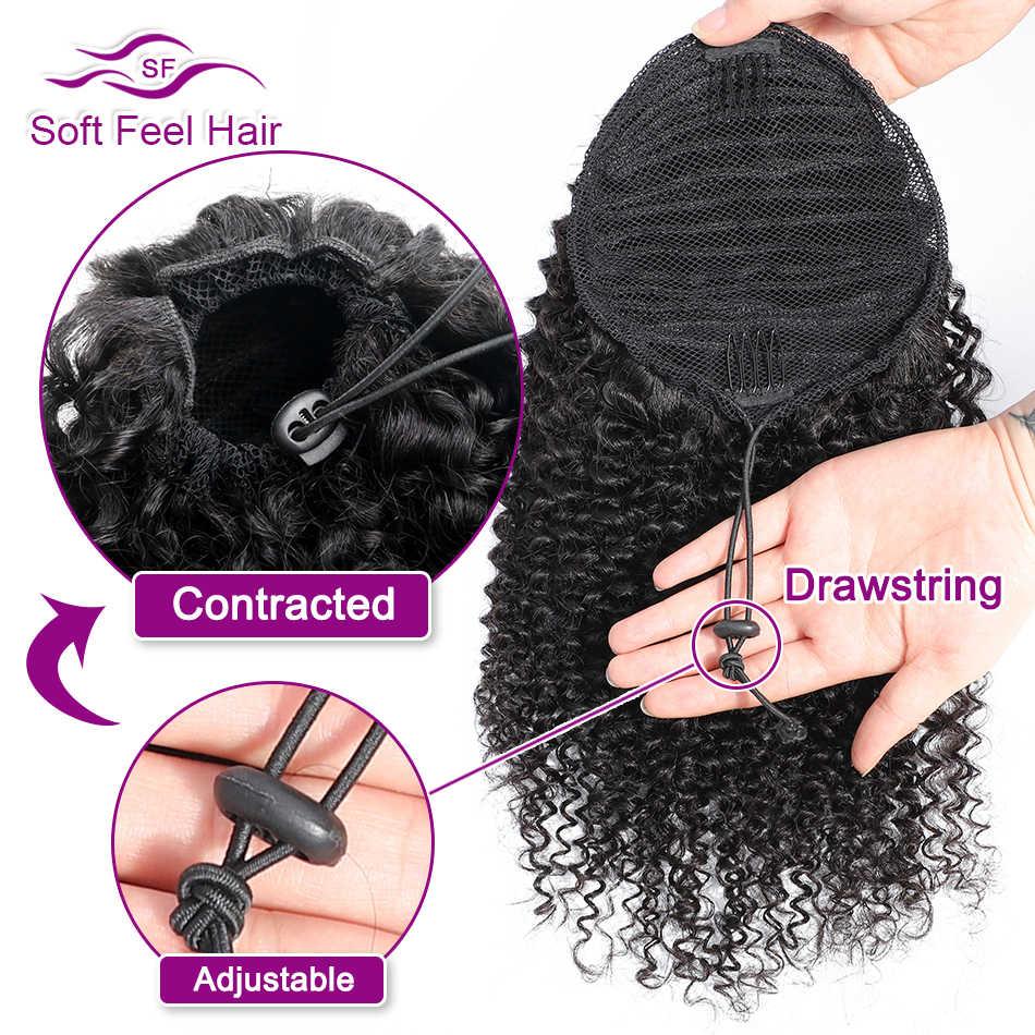 Афро кудрявый прическа «конский хвост» 1 шт. бразильский шнурок пони хвост клип в наращивание волос Remy мягкие на ощупь волосы конский хвост