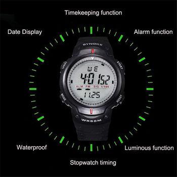 Zegarki sportowe mężczyźni duża tarcza zewnątrz odliczanie Chronograph Shock zegarek wodoodporny cyfrowe zegarki na rękę Masculino tanie i dobre opinie Cyfrowy Akrylowe 27cm Klamra Nie wodoodporne Brak 47 75mm 1 x Sports Watch Nie pakiet Okrągły Silikon 22 16mm 15 11mm