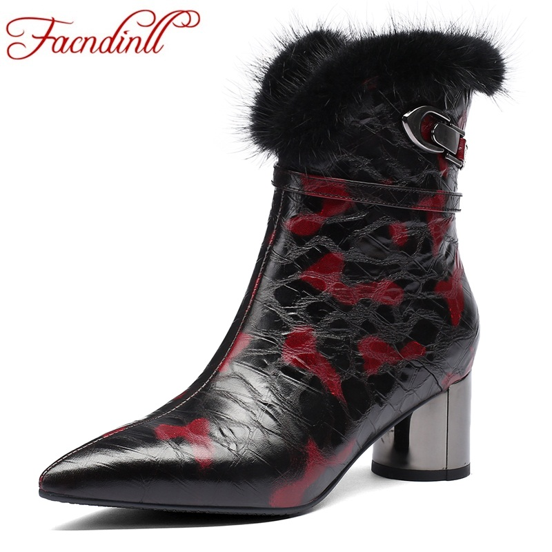 FACNDINLL women ankle boots shoes new autumn winter warm boots genuine leather zipper real fur woman dress party casual shoes все цены