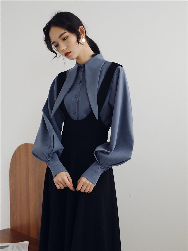 2019 New Fashion Women's Two Piece Set Spring Blouse+skirt Vintage Strap French Dress