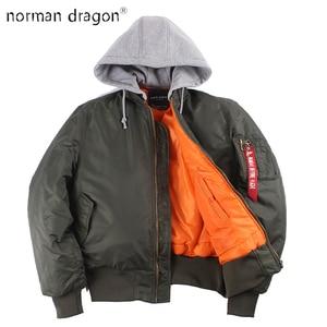 Image 1 - 2019 ฤดูหนาวขนาดใหญ่ MA 1 hooded streetwear hip hop กองทัพทหารเสื้อโค้ทเสื้อผ้า BOMBER Flight AIR FORCE นักบินชายเสื้อ