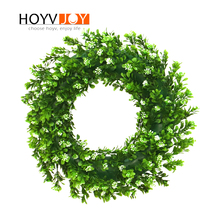 HOYVJOY White Flowers Green Wreaths Full Leaf 35cm Garlands Home Decorations Handing On Wall Door