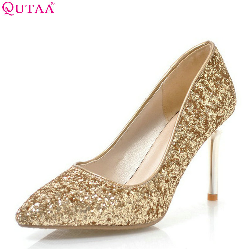 QUTAA 2018 Women Pumps Pu Leather Bling Fashion Women Shoes Slip on Thin High Heel Platform Ladies Wedding Pumps Size 34-43 nayiduyun women genuine leather wedge high heel pumps platform creepers round toe slip on casual shoes boots wedge sneakers