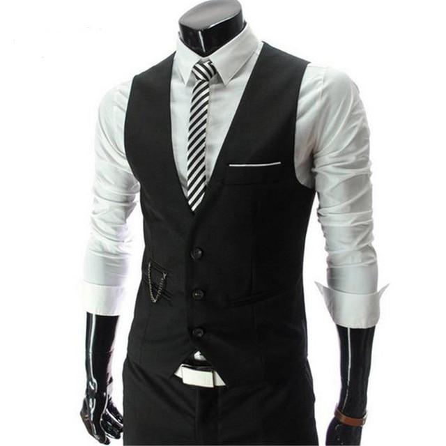 Outono dos homens Slim Fit Vestido de Terno Colete Coletes, homens Gilet Colete chaleco Hombre de Moda, Nova marca