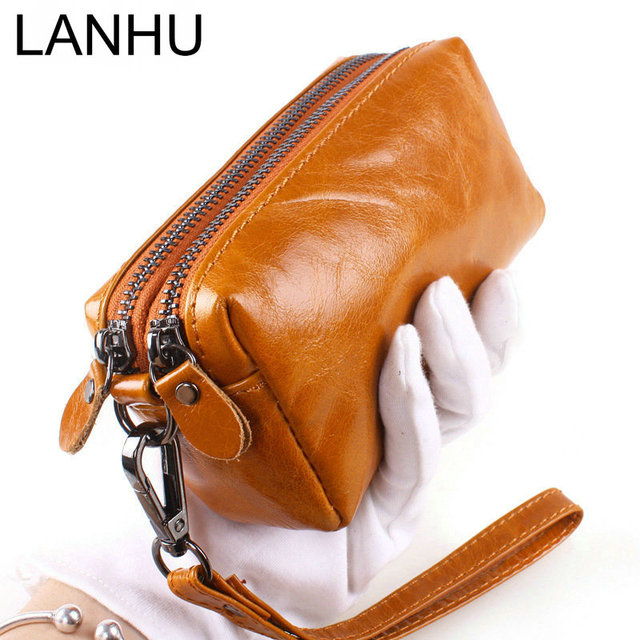 2016 Oil Wax Cowhide Clutch Bag Small Women Double Zipper Genuine Leather Coin Purse Female Phone Wallet Credit Cards Key Cases