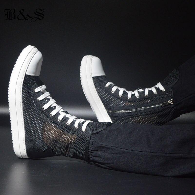 Luxo Net Trainer Rua Sapatos 2018 Altas Moda Botas Hip amp; De Rock Amantes Nylon Hop Verão Oco Respirável Black 1qB8xYvFwq