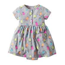 Baby Girls Princess Kids Party Dresses Cotton Newborn Costume Ruffle Flower Romper Dress Floral Clothes