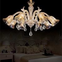 Ретро Led люстра стеклянная абажур кухня хрустальная люстра лампа пентхауса ресторан люстра с кристаллами гостиная Lampadari