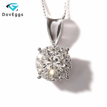 Solid 14K 585 White Gold 1 Carat ct TRANSGEMS EF Colorless Clear Lab Grown Moissanite Pendant Necklace With Real Diamond Accents
