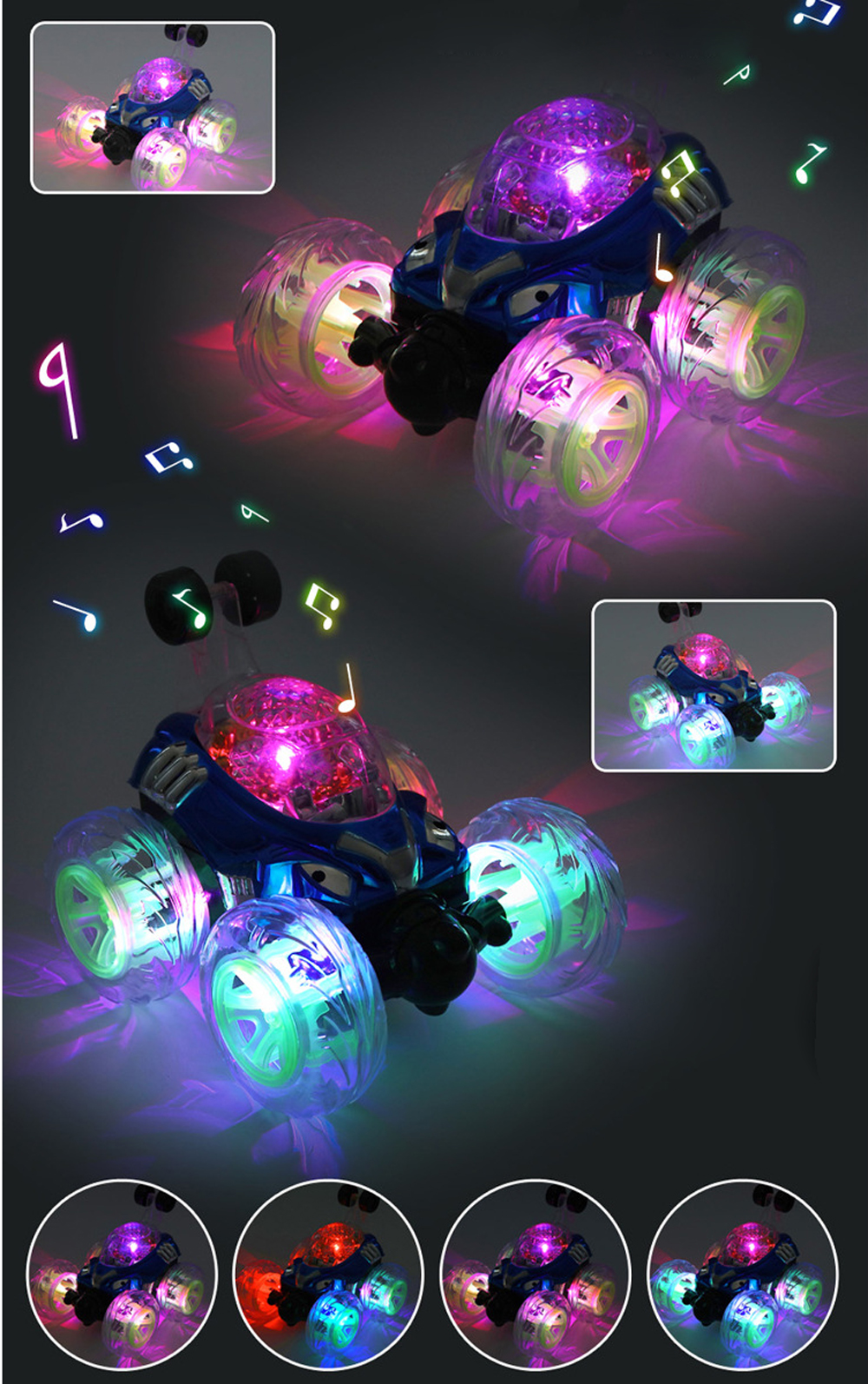 New 360Spinning And Flips With Color Flash & Music for Kids Remote Control Truck Electric Remote