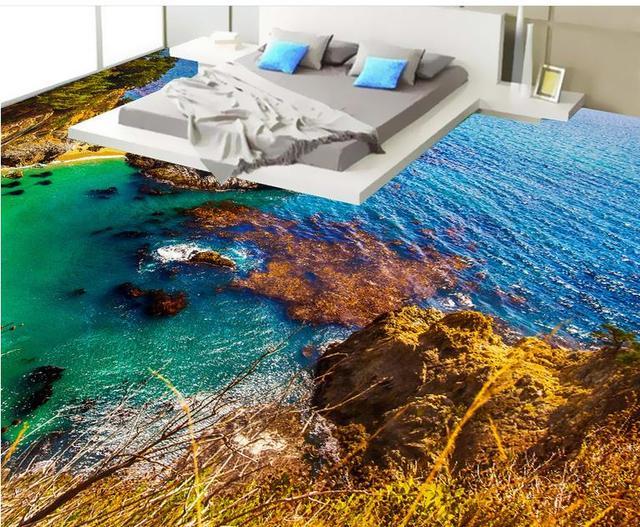 Pvc Vinyl Flooring Custom Wallpaper 3d Seaside Scenery Wallpapers For Living Room Floor Tiles
