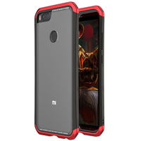 For Xiaomi Mi 5X Case Armor Transparent Metal Frame Tempered Glass 3in 1 Phone Back Cover