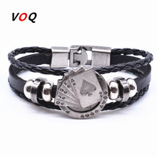 Free Shipping Lucky Spade Straight Flush Poker Handmade Charm Bracelet Men Friendship Leather Bracelet homme Jewelry G1819