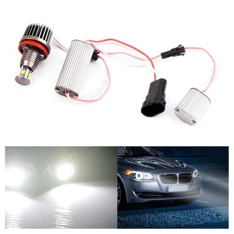 GrandEver 2PC 40W H8 HID Color Angel Eyes Car HeadLight Bulbs For BWM E90 E92 E93 X5 12V 40W 24V 6000K 1000LM LED with Aluminum