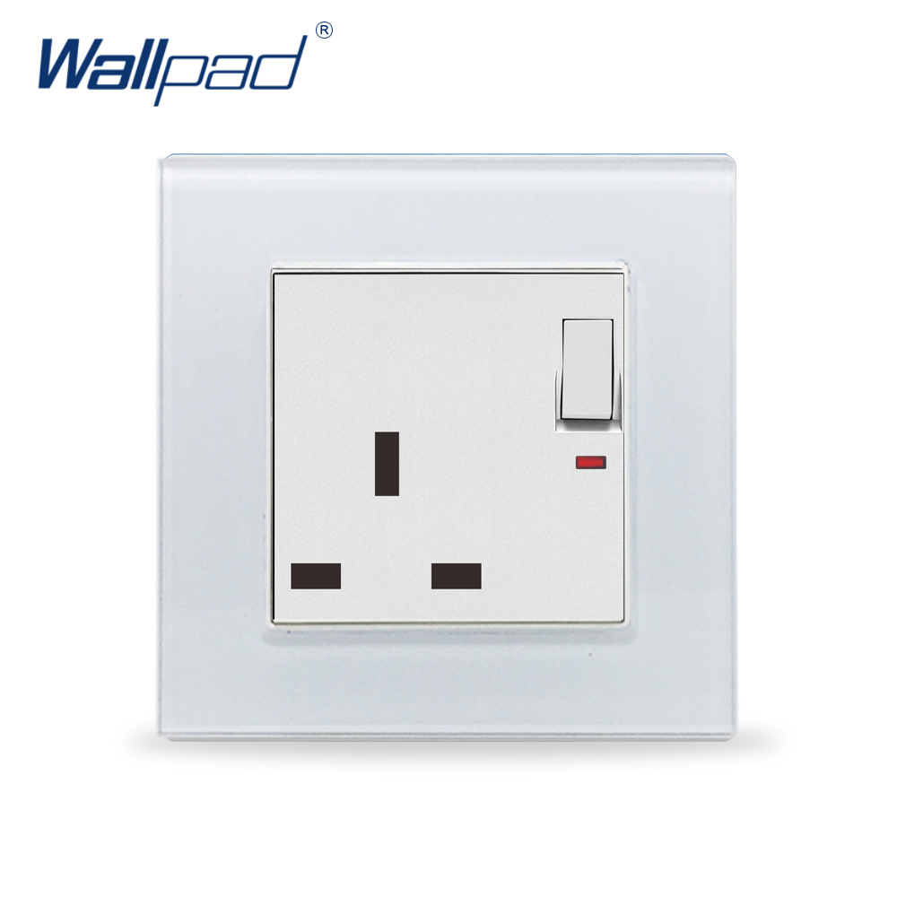 UK Socket Wallpad Crystal Glass Panel 110V-250V Switched 13A UK British Standard Electrical Wall Socket Power Outlet UK with LED british mk british unit power supply socket metal 13a power outlet british standard unit socket
