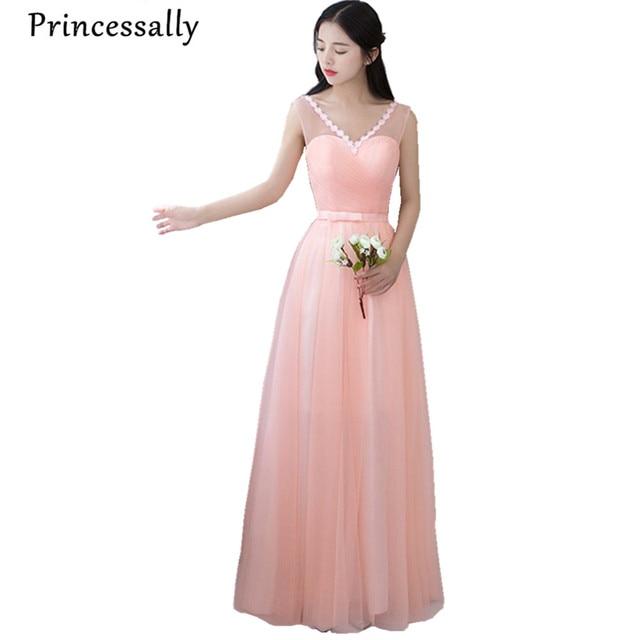 Blush Pink Bridesmaid Dresses Elegant Floor Length V neck Long Prom ...