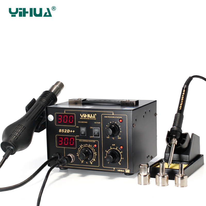 YIHUA 852D++ SMD Digital Air Soldering Station  Mobile Phone Hot Gun Soldering For Solder