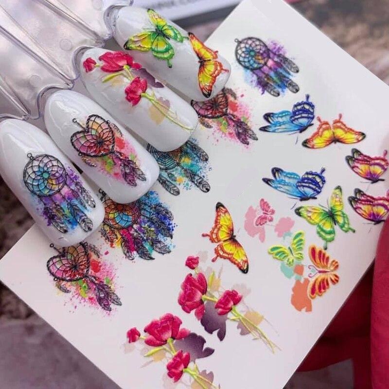 3D Acrylic Engraved flower Nail Sticker pretty girl Rose flower bird  Water Decals Empaistic Nail Water Slide Decals Z0112