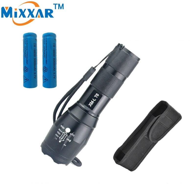 RUZK40 CREE XM L T6 3000 Lumens led flashlight E17 Waterproof with 2 5000 mAh battery