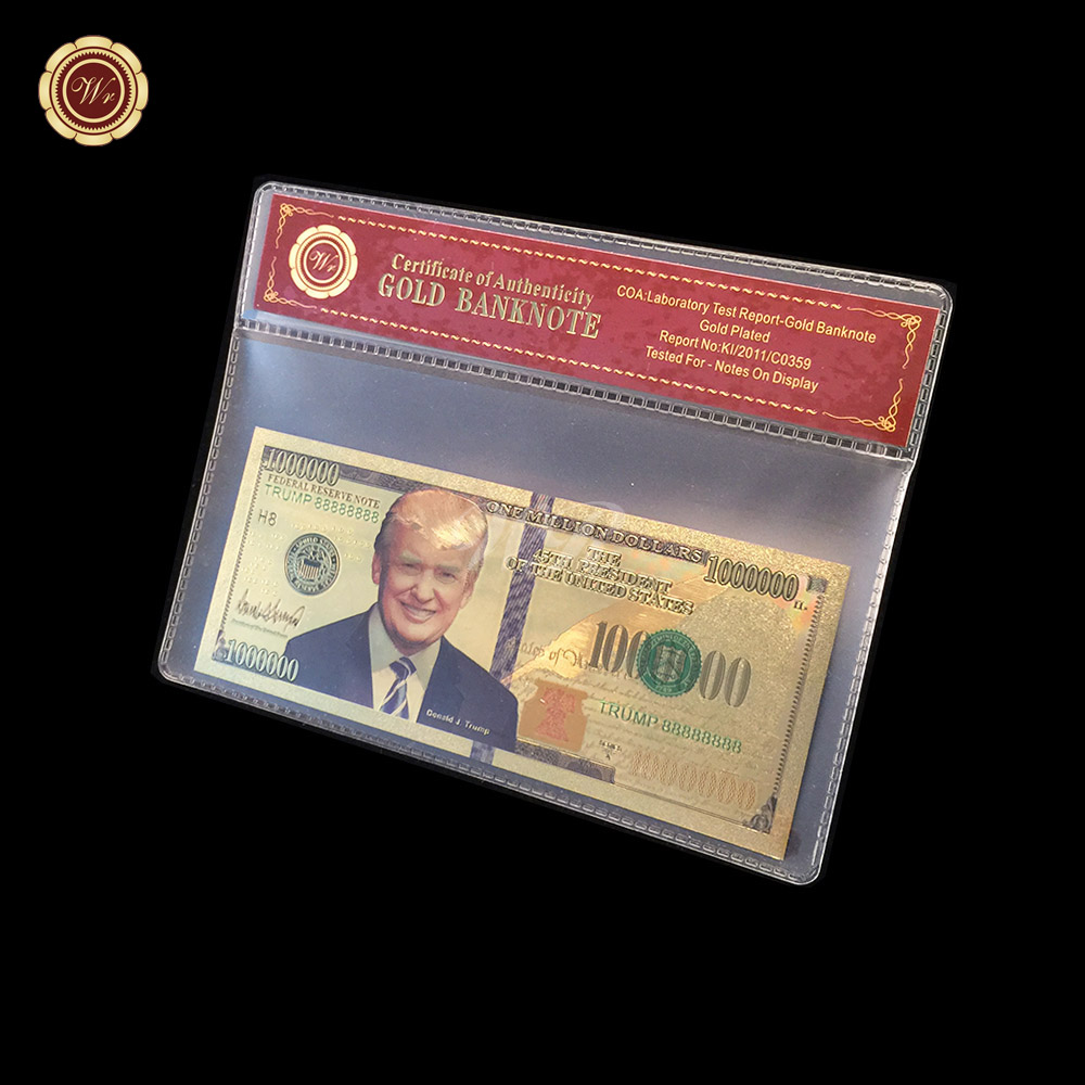 WR United States President Donald Trump 24k Gold Banknote USD1000000 with Frame Business Collection Gift Home Decorations image