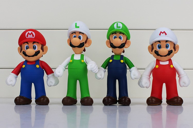 4pcs/lot 13cm Super Mario Bros Luigi Mario PVC Action Figure Toy Doll Cute Gifts For Children Kid 2